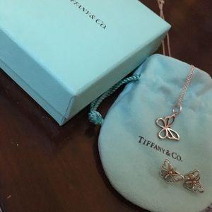 Tiffany butterfly earrings necklace